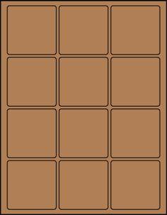 "2.5"" Square Brown Kraft label sheet from #www.KraftOutlet.com  $.79 per sheet"