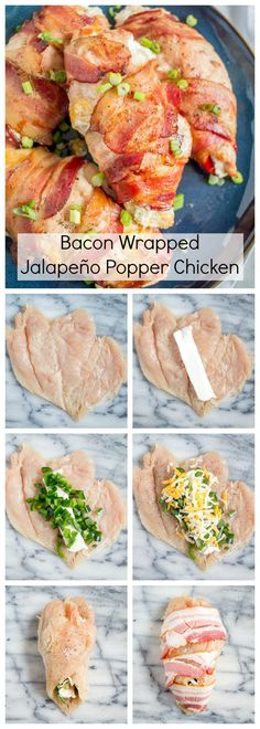 This easy to prepare Bacon Wrapped Jalapeño Popper Chicken recipe captures the flavors of one of my favorite guilty pleasure appetizers. The best part is that the active preparation time is only 10 minutes! Comida Diy, Comida Keto, Bacon Wrapped Jalapeno Poppers, Jalapeno Bacon, Jalapeno Pepper, Jalapeno Recipes, Jai Faim, Good Food, Yummy Food