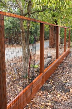 Hog Wire Fence, Diy Dog Fence, Diy Garden Fence, Farm Fence, Backyard Fences, Backyard Landscaping, Diy Dog Run, Cedar Fence, Pool Fence