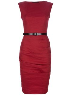 Tomato stretch fitted sleeveless dress