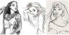 Pocahontas - The First Drawings of Disney Characters - Wall to Watch