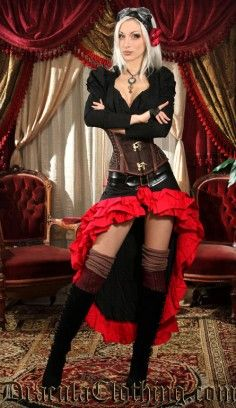 Black and Red Vex Skirt #skirt #steampunk #steampunkcouture #kato http://draculaclothing.com/index.php/black-and-red-vex-skirt.html