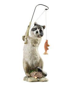 Look at this #zulilyfind! Fisherman Raccoon Garden Figurine #zulilyfinds