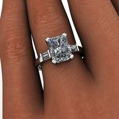 Forever Brilliant Moissanite Engagement Ring Radiant Cut 3.25 CTW