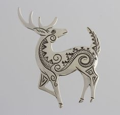 "Handmade sterling silver buck pin with native american stamp work. Pin on the back. Hallmark of artist and a sterling stamp on the back. Made by Navajo artist Lee Charley Measurements: 2 7/8"" x 1 15/16"" ​Weight: 13.8g"
