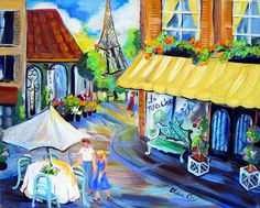Paris Cafe City Scene Large Original Painting by ElainesHeartsong