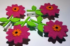 Mini Clothespins 4  with Felt Flowers 2.5 by SweetConceptDesigns