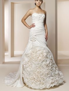 Floral Wedding Gown with Asymmetrical Pleated Bodice and Ruffled Skirt
