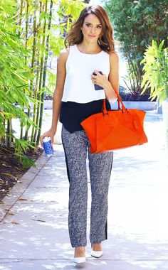 #StyleTip: Amp up your nine-to-five style with a bright bag. // Jessica Alba with the Narciso Rodriguez Claire Zip Tote in Cayenne Orange Suede