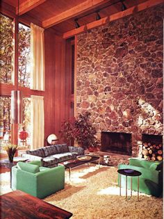 Late 1970s Interior. Love the stone accent wall & the shag carpet!