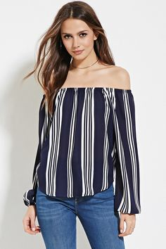 Forever 21 Contemporary - A semi-sheer woven top with long sleeves, elasticized cuffs, an allover stripe print, and an elasticized off-the-shoulder neckline.