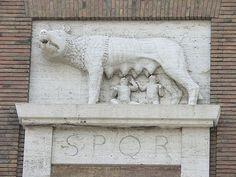 Fascist era SPQR with the Roman wolf, Rome