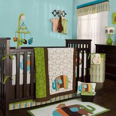 Zutano Elephants Bedding by Kidsline - Elephant Baby Crib Bedding - z23bed