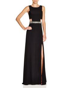 AQUA Sleeveless Illusion Side Embellished Waist Gown