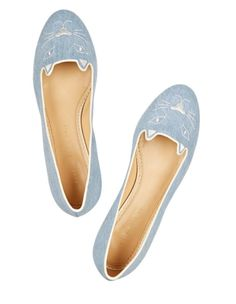 Charlotte Olympia Denim Kitty Embroidered Kim Kardashian Slippers Flats. Get the must-have flats of this season! These Charlotte Olympia Denim Kitty Embroidered Kim Kardashian Slippers Flats are a top 10 member favorite on Tradesy. Save on yours before they're sold out!