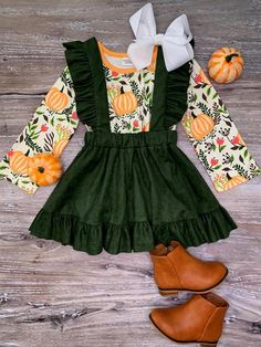 Girl's Toddler Pumpkin Green Suede Long Sleeve Fall Thanksgiving Holiday Suspender Set Stretch Cotton Outfit 12 18 Month 5 6 7 8 Baby Girl Fashion, Fashion Kids, Toddler Fashion, Punk Fashion, Fall Fashion, Baby Clothes Patterns, Baby Kids Clothes, Kids Clothing, 18 Month Girl Clothes