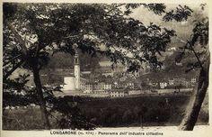 Longarone, vista dalla valle del Piave (cartolina di Pompeo Breveglieri, del 1925)