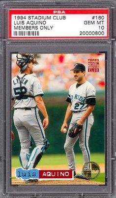 1994 Stadium Club Members Only #160 Luis Aquino Marlins PSA 10 pop 1 by Stadium Club. $6.00. 1994 Stadium Club Members Only #160 Luis Aquino Marlins PSA 10 pop 1. If multiple items appear in the image, the item you are purchasing is the one described in the title.