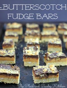 Butterscotch Fudge Bars ~ The Plaid & Paisley Kitchen~ Oh My Lord these are Fantastic! Crunchy yummy bottom, butterscotch, and fudge! So easy and oh so good! Lunch Box Recipes, Candy Recipes, Cookie Recipes, Dessert Recipes, Fudge Recipes, Diet Desserts, Delicious Desserts, Jello Cookies, Bar Cookies