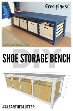 Build a large mudroom bench with open space below to fit premade crates for shoe storage. Sharing the free plans and how to details here.