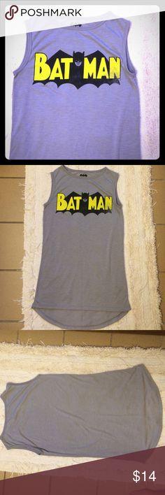 NWOT batman sleeveless tee; XS NWOT; DC Comics Batman sleeveless tee; Heather gray; slightly longer in the back;size XS DC Comics Tops Tank Tops