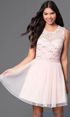 Short Dress with Embroidered Mesh Over Sweetheart Neckline. | $70 | Simply Dresses