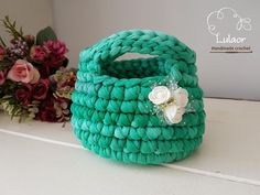 T-shirt yarn handbag/basket recycled fabric yarn by Lulaor on Etsy