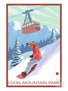 Loon Mountain Park - Snowboarder and Tram Print at Art.com