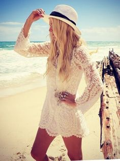 A lightweight, white, crochet dress/tunic is a perfect bikini coverup. Add a fedora and cute sunglasses, and you get great sun protection!