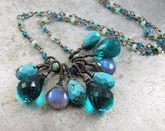 Teal Quartz, Turquoise, Labradorite and Chrysoprase gemstone charm Necklace - Julia