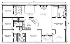 Love this floor plan. Probably flip master so bathroom at front ranch house floor plans 4 bedroom Love this simple, no watered space plan - add a wraparound porch, garage with additional storage room and it would be perfect! by proteamundi Floor Plan 4 Bedroom, 4 Bedroom House Plans, Basement House Plans, Garage Bedroom, Bedroom Decor, Walkout Basement, Basement Stairs, Cozy Bedroom, House Plans One Story
