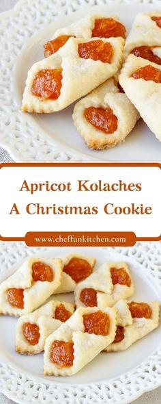 Apricot Kolaches – A Christmas Cookie Christmas Desserts, Christmas Baking, Christmas Cookies, Peanut Butter Cookie Recipe, Sugar Cookies Recipe, Easy Cookie Recipes, Dessert Recipes, Cookie Ideas, Apricot Kolache Recipe