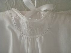 Baby clothes are like little handmade bouquets. Intricate and soft with delicate folds like petals. Cheerful as roses. Sewing For Kids, Baby Sewing, Sewing Ideas, Sewing Patterns, White Coverlet, Christening Gowns, Embroidered Clothes, Heirloom Sewing, Kid Styles