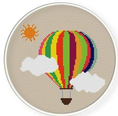 cross stitch mongolfiera