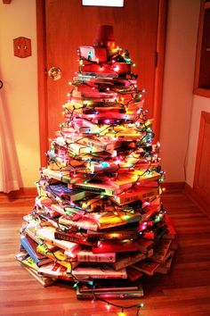 Book tree with colored lights