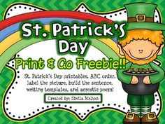 Your students will feel extra lucky with these St. Patrick's Day themed print and go FREEBIES! #stpatricksday #march #education #teacherspayteachersfree #tptfree #sheilamelton