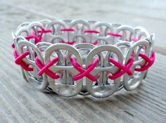 Recycled Pop Tab Bracelet Neon Pink by beforethelandfill on Etsy, $5.00