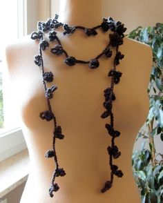 80 inches long Grey Sky lariat scarf or necklace