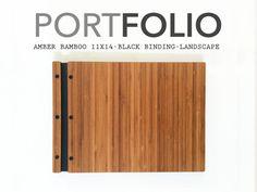 11x14 Landscape Amber Bamboo Portfolio Presentation Folio Wood Modern Portfolio Photography Graphic Design Portfolio Screw Post Book