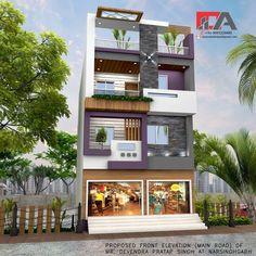 Decor Ideas 2020 - Home Decor Village House Design, House Front Design, Building Elevation, House Elevation, Modern Exterior House Designs, Exterior Design, Residential Building Plan, 3 Storey House Design, Architecture Résidentielle