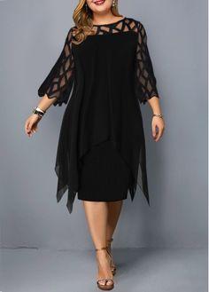 Cheap Plus Size Dress Round Neck Dress Mesh Panel Dress Layered Dress Black Dress Sleeve Dress Elegant Dress – Plus Size Dress Roun. Plus Size Lace Dress, Plus Size Dresses, Dresses For Sale, Dress Lace, Plus Size Cocktail Dresses, Chiffon Cardigan, Vestidos Plus Size, Panel Dress, Embellished Dress