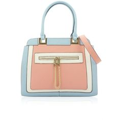 Ria Pastel Pink and Blue Tote Bag ($63) ❤ liked on Polyvore featuring bags, handbags, tote bags, purses, blue, bolsa, pale blue, pink tote bag, zippered tote and red leather tote