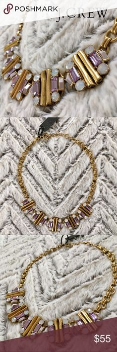 J Crew Purple & Crystal Brass Statement Necklace Gorgeous purple and Crystal jewels adorn Five sculptural brass medallions, adjoined by a chunky brass chain. New with Tags. Beautiful statement necklace-- perfect gift Search my closet for your size BUNDLE and SAVE! (Tiered discounts for the rest of December-- 15% off 2, 20% off 3, 25% off 4, or 30% 5+ items)!!! Just submit offer on bundle. REASONABLE offers WELCOME NO TRADES NO HOLDS Thank you for stopping by!❤️ J. Crew Jewelry Necklaces