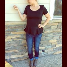 Kirra Made in USA Peplum Top Black Black ruffle bottom heart back.  Fashion blouse.  Machine washable, gently used condition. Black. Kirra Tops Blouses