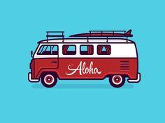 Bus Illy designed by Ryan Putnam for Dropbox Design. Vw Minibus, Combi T2, Bus Art, Vw Vintage, Dibujos Cute, Car Illustration, Volkswagen Bus, Line Design, Art Prints