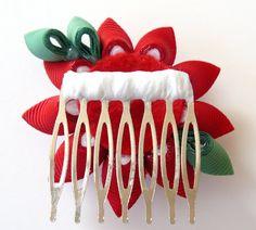 Kanzashi Fabric Flower hair comb . Red kanzashi hair by JuLVa