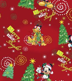 Holiday Inspirations Fabric-Merry Mickey   -lbk-