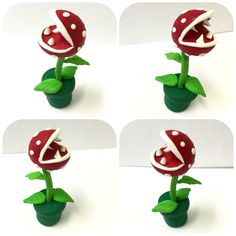 DIY Mario bros Piranha Plant desk ornament hand crafted by yours truly out of Fimo soft and red sparkly Fimo effect polymer clay. Insta Art, Sculpting, Polymer Clay, Planter Pots, Nintendo, Presents, Miniatures, Diy Projects, Desk