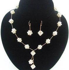 XaXe.com - 4mm White Pearl Knit Ball Tin Cup Necklace Earrings Set