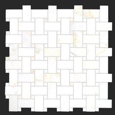 Alya Stone Tile- Calacatta Golden Polished Mable Basketweave with Calacatta Golden Polished Marble Dots